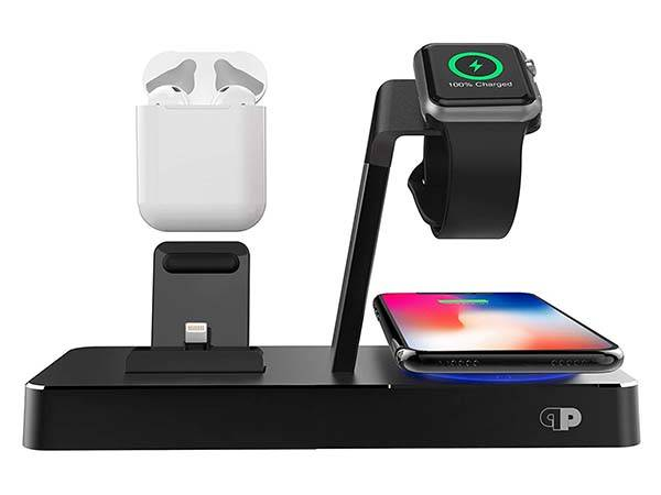 The PowerBase Charging Station with Wireless Charging Pad and Two USB Ports