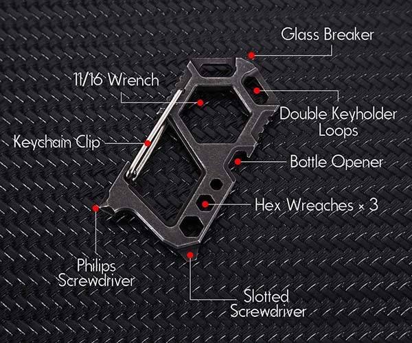 12-In-1 Stainless Steel Carabiner Multi Tool