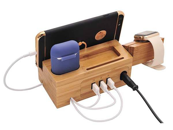 Bamboo All-In-One Charging Station for iPhone, AirPods and Apple Watch