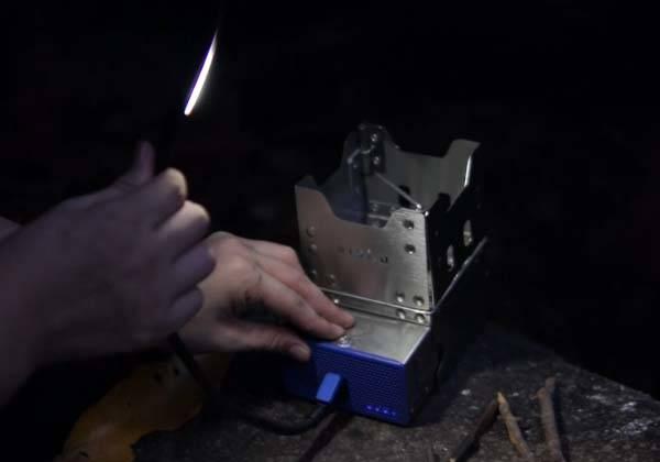 Chunyan Mini Foldable Camping Wood Stove Doubles as Portable Power Bank