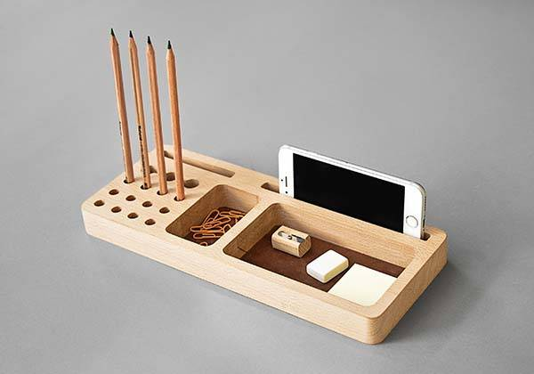 Handmade 6-In-1 Wooden Desk Organizer