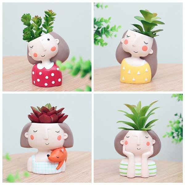 Handmade Cute Girl Succulent Planters
