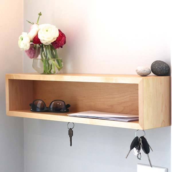 Handmade Wooden Entryway Organizer with Magnetic Key Hooks