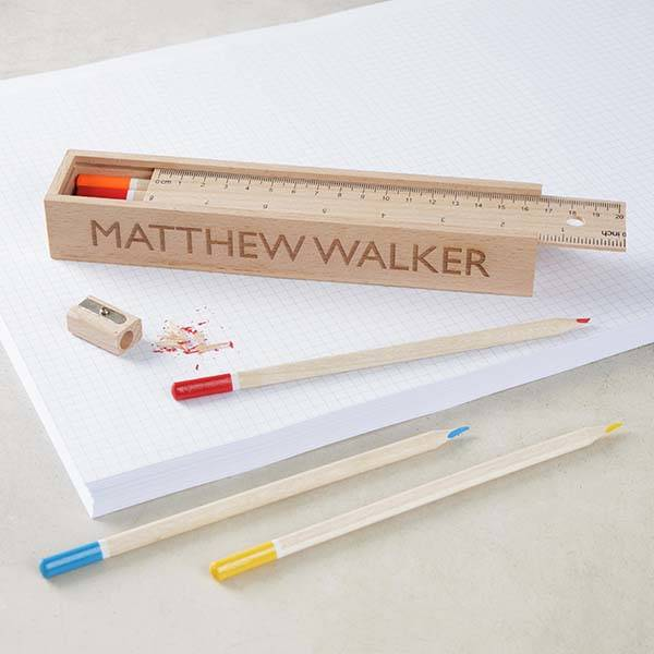 Handmade Personalized Wooden Pencil Case and Pencils