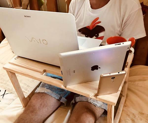 Handmade Portable Laptop Desk with Tablet, Phone Holders and Mug Tray