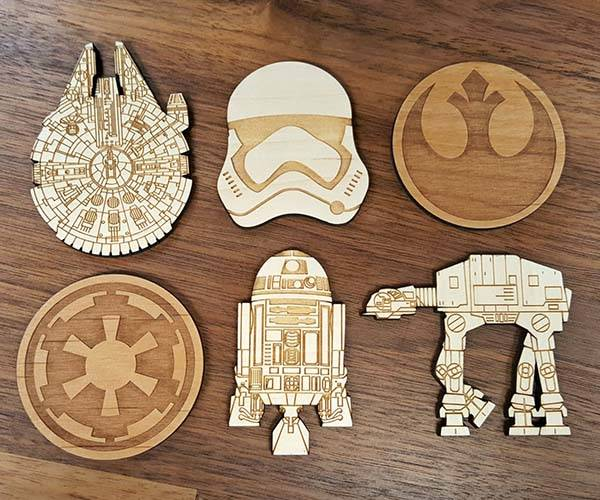 Handmade Wooden Star Wars Fridge Magnets