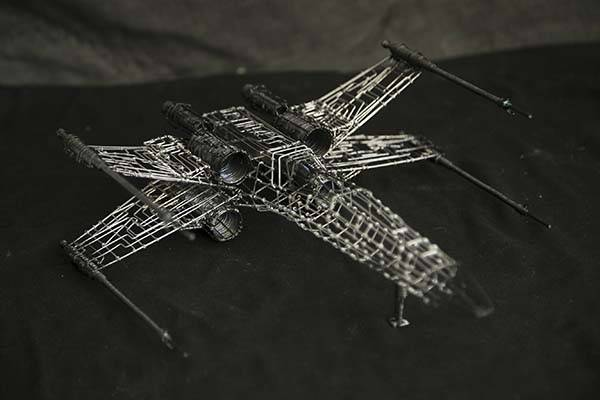 Handmade Star Wars Millennium Falcon and X-Wing Wire Sculptures