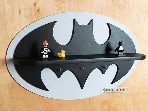 Handmade Wooden Batman Wall Shelf with Background