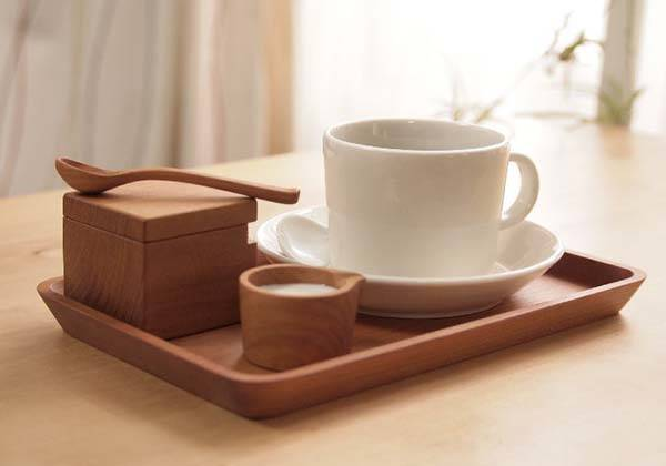 Handmade Wooden Cafe Set Contains Tray, Sugar Container and Spoon