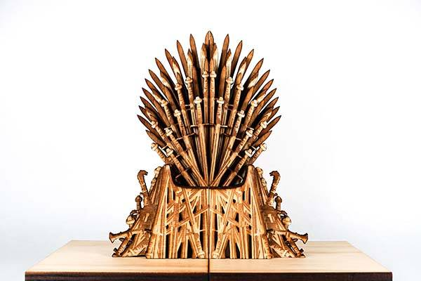 Handmade Wooden Game of Thrones Iron Throne Bookends