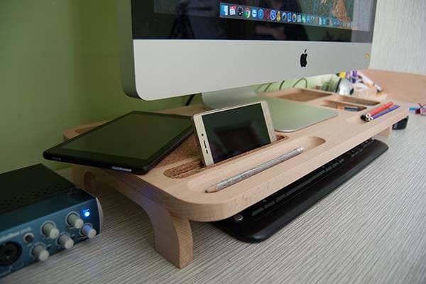 Handmade Wooden Monitor Stand with Desk Organizer
