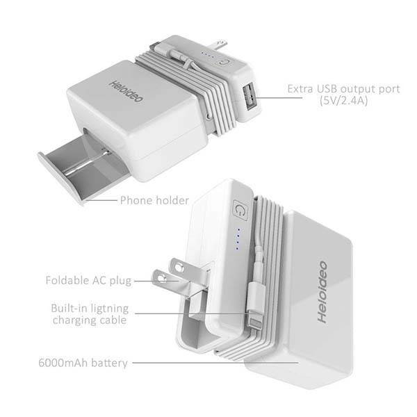 Heloideo Portable Power Bank with USB Wall Charger and Lightning Cable