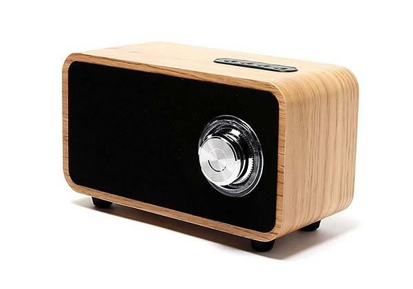 Ohhai Portable Wooden Bluetooth Speaker with FM Radio