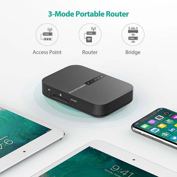 RAVPower FileHub Wireless Travel Router with Portable Storage Device and Power Bank