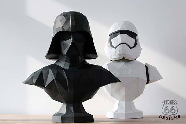 Star Wars Darth Vader and Stormtrooper 3D Paper Sculptures