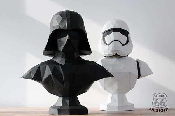 Star Wars Darth Vader and Stormtrooper 3D Paper Sculptures