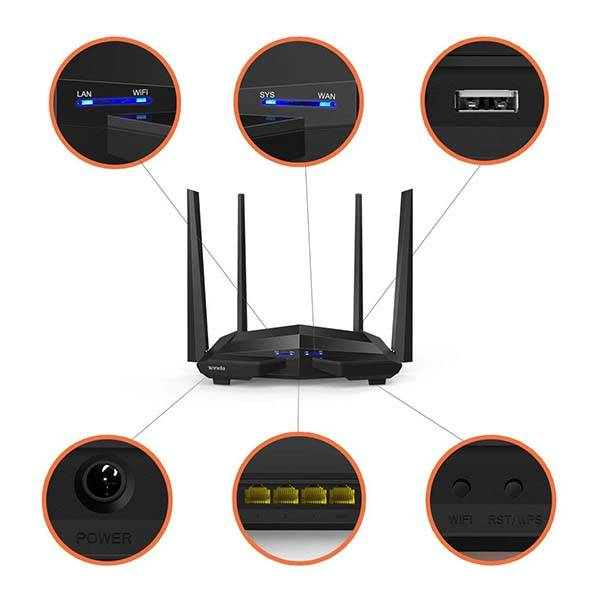 Tenda AC10U AC1200 Dual-Band WiFi Router with USB Port