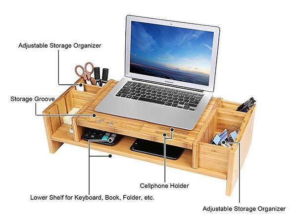 The Bamboo 2-Tier Monitor Stand with Adjustable Desk Organizer