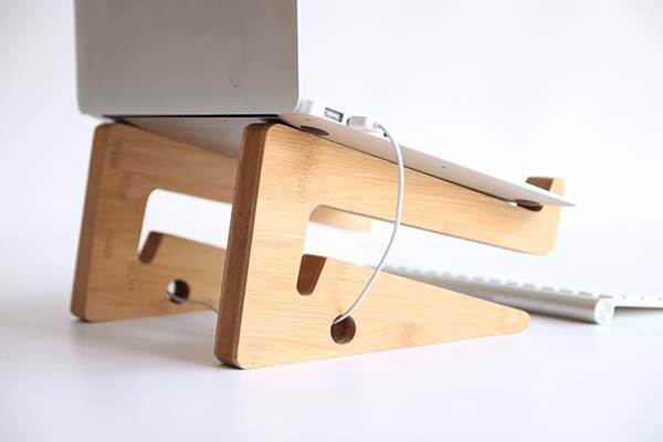 The Handmade Bamboo Laptop Stand Delivers Both Horizontal and Vertical Modes