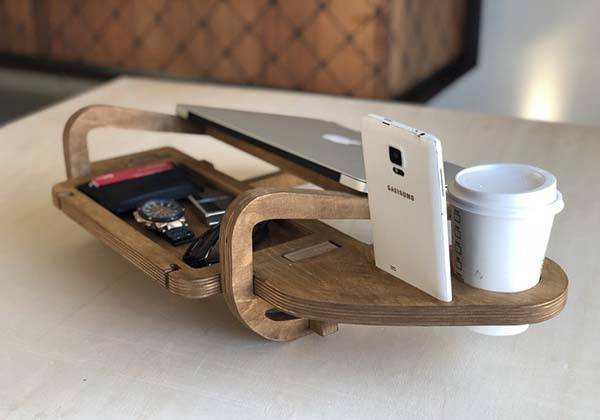 Handmade Laptop Docking Station with Integrated Desk Organizer and Cup Holder