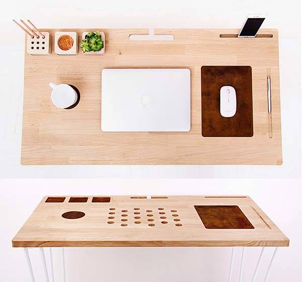 The Handmade Modern Desk with Integrated Desk Organizer