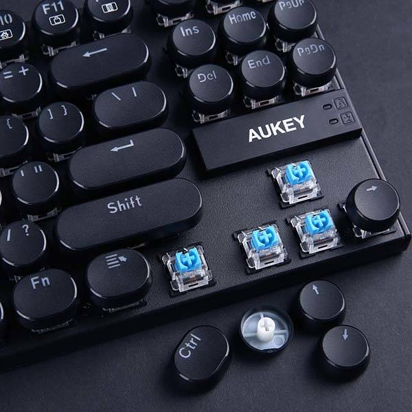Aukey KM-G11 Typewriter Style Compact Mechanical Keyboard