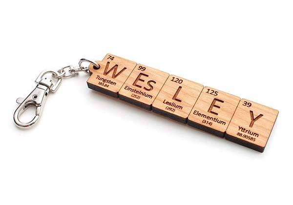 Handmade Custom Periodic Table Element Name Keychain
