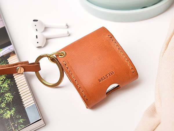 Handmade Customizable Leather AirPods Case with Strap