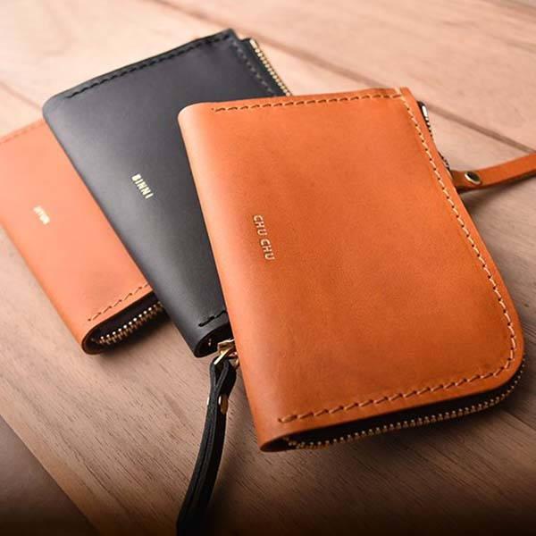 Handmade Customizable Leather Zip Wallet