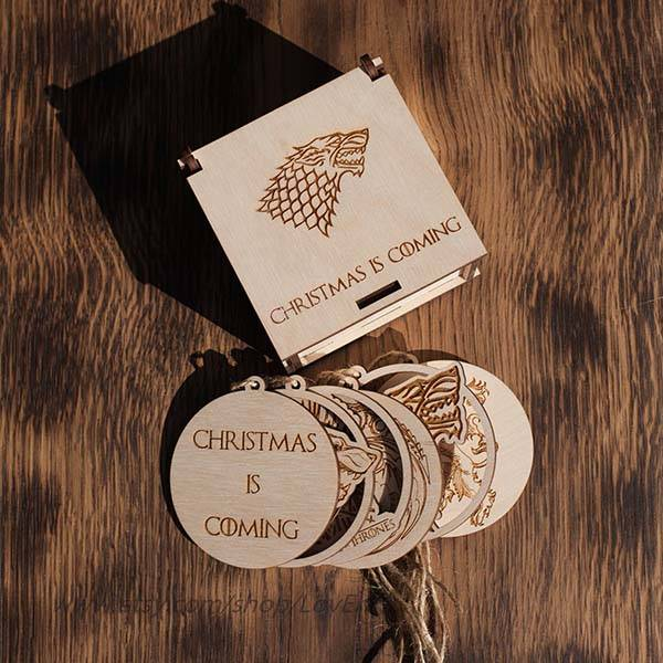 Handmade Game of Thrones Wooden Christmas Tree Ornaments