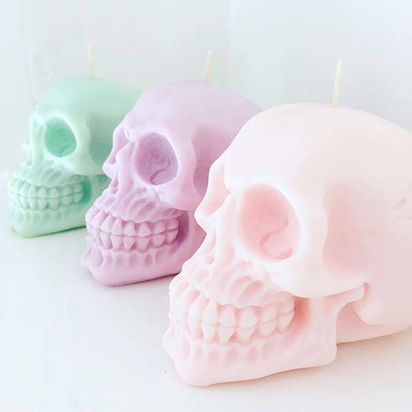 Handmade Pastel Skull Scented Candles
