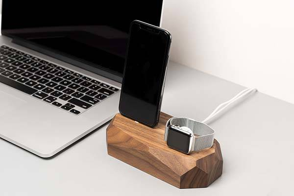 Handmade Wooden iPhone and Apple Watch Charging Station