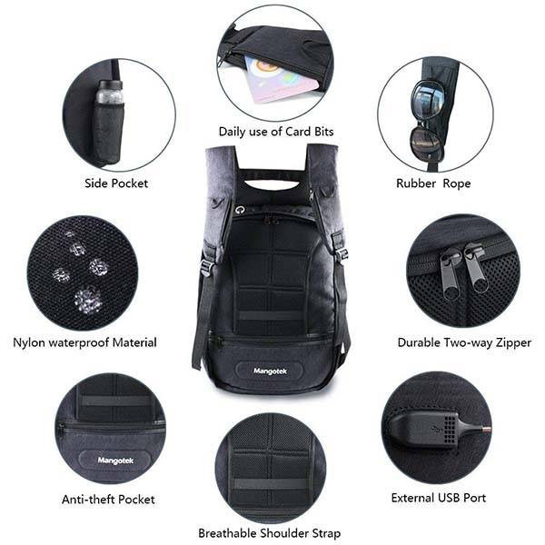 Mangotek Anti-Theft Laptop Backpack with USB Charging Port