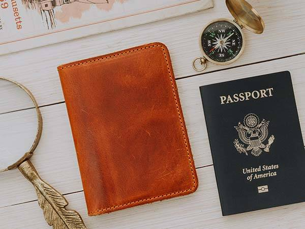 Pike Handmade Personalized Distressed Leather Passport Wallet