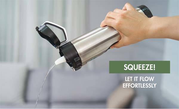 Ripuri Squeezable Stainless Steel Water Bottle with NSF Filter