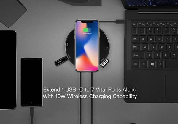 Soholine 7-In-1 USB-C Hub with 10W Wireless Charger