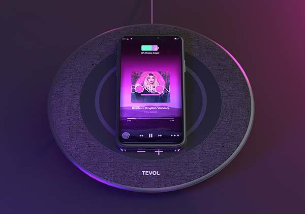 TEVOL Bluetooth Home Speaker with Wireless Charging Pad