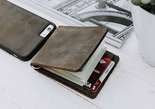 Handmade Customizable Leather Money Clip Wallet