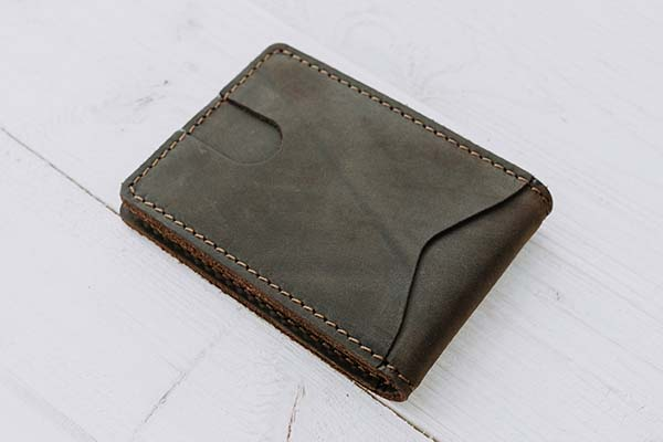 Handmade Customizable Leather Money Clip Wallet