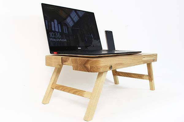 Handmade Foldable Wooden Lap Desk with Custom Grooves
