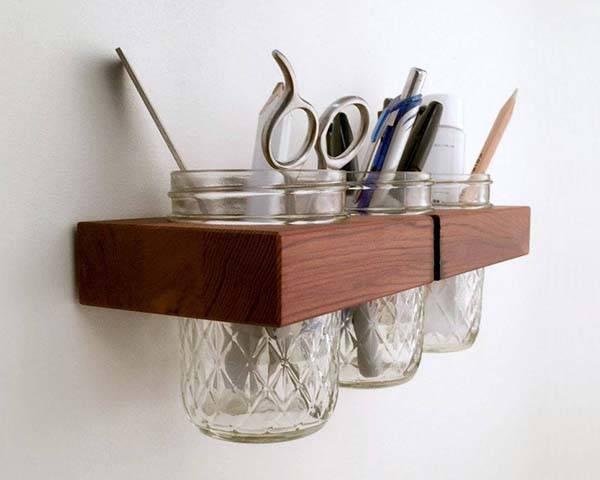 Handmade Mason Jar Wooden Wall Organizer