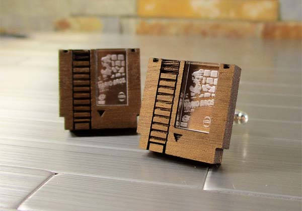 Handmade NES Game Cartridge Wooden Cufflinks
