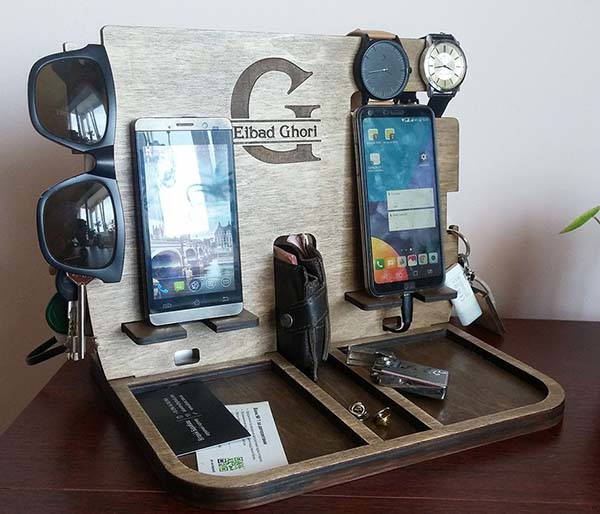 Handmade Twin Wooden Docking Station with Tray Organizer