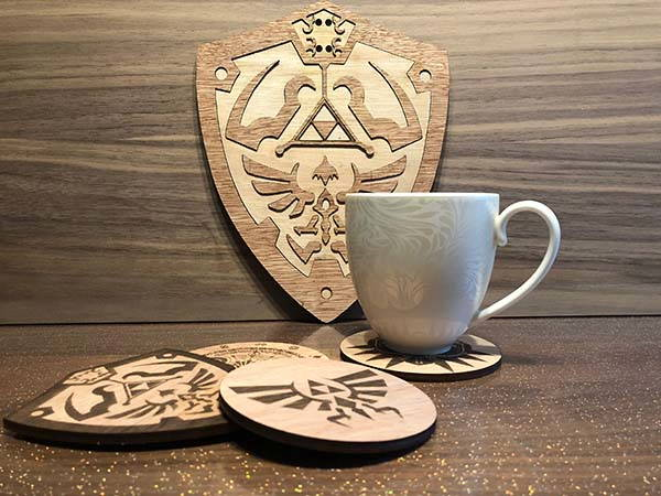 Handmade Wooden Legend of Zelda Drink Coaster Set