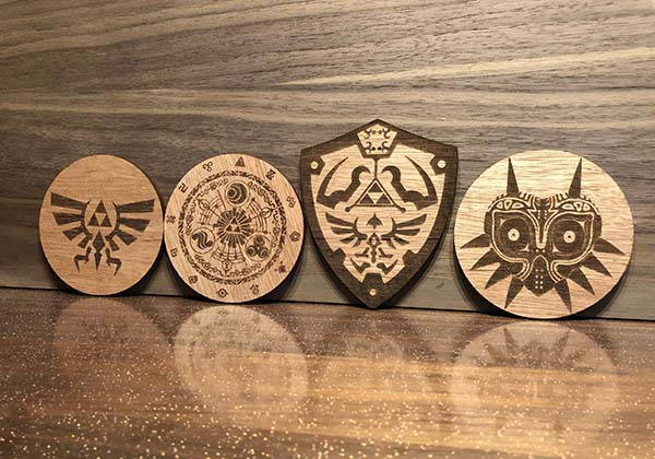 Handmade Wooden Legend of Zelda Drink Coaster Set