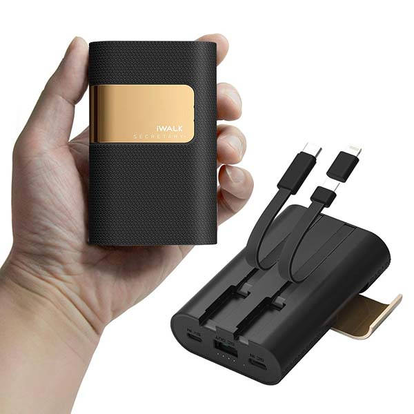 iWalk Portable Power Bank with USB-C, MicroUSB Cables and Lightning Adapter