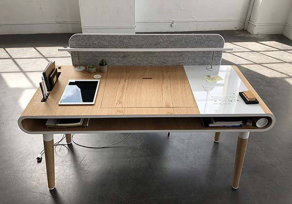 Köllen Eget Wooden Desk with LED Light, Wireless Charger, Magnetic Whiteboard and More