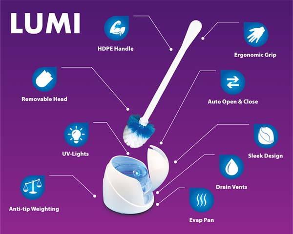LUMI Self-Sanitizing Toilet Brush and Base