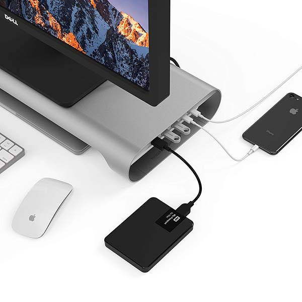 Monitormate ProBASE HD Aluminum Monitor and Laptop Stand with USB-C Ports and HDMI Output