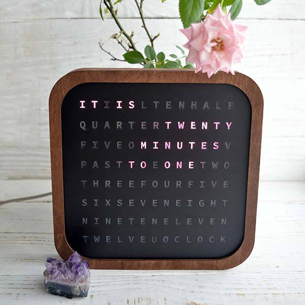 The Handmade Wooden English Word Clock